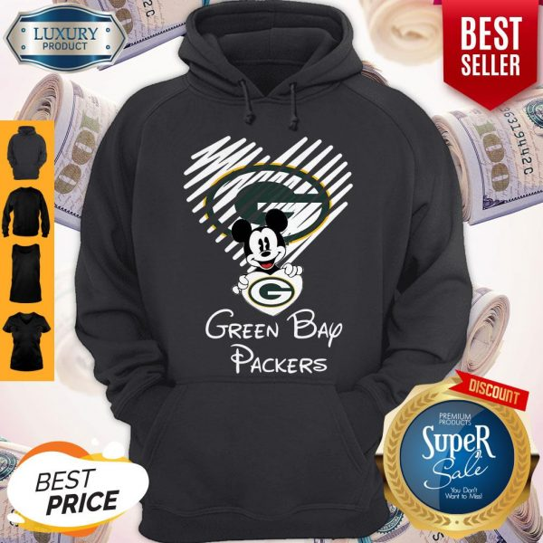 Mickey Mouse Hug Heart Green Bay Packers Logo Hoodie
