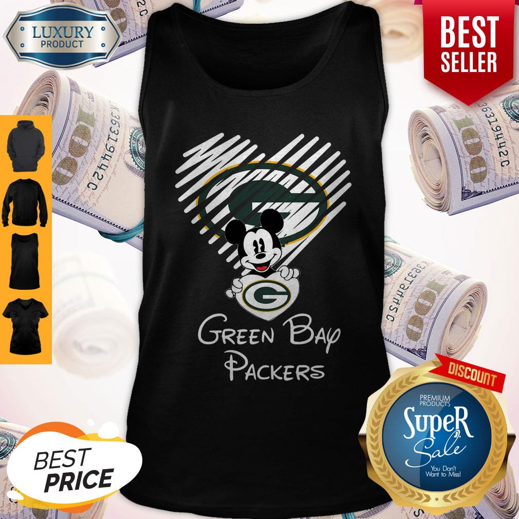 Mickey Mouse Hug Heart Green Bay Packers Logo Tank Top