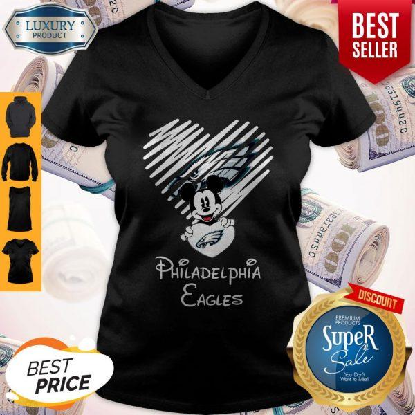 Mickey Mouse Hug Heart Philadelphia Eagles Logo V-neck