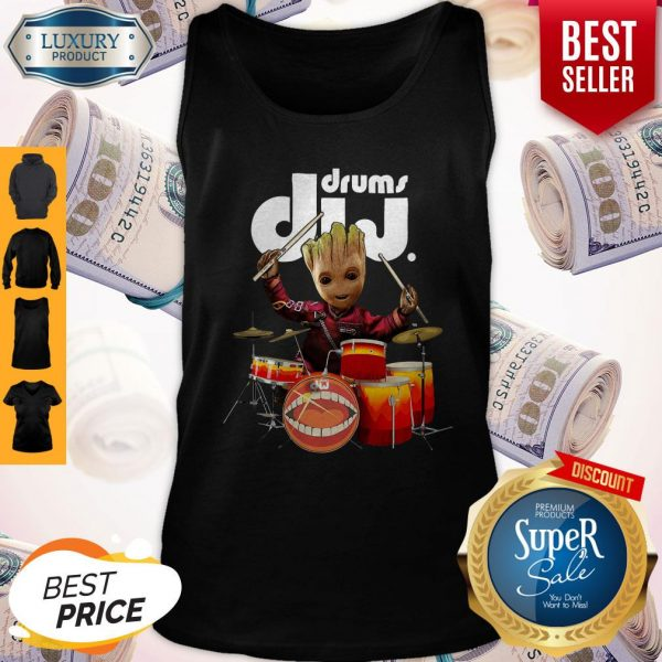 Official Baby Groot Show Animal Playing Drums Dij Drums Tank Top