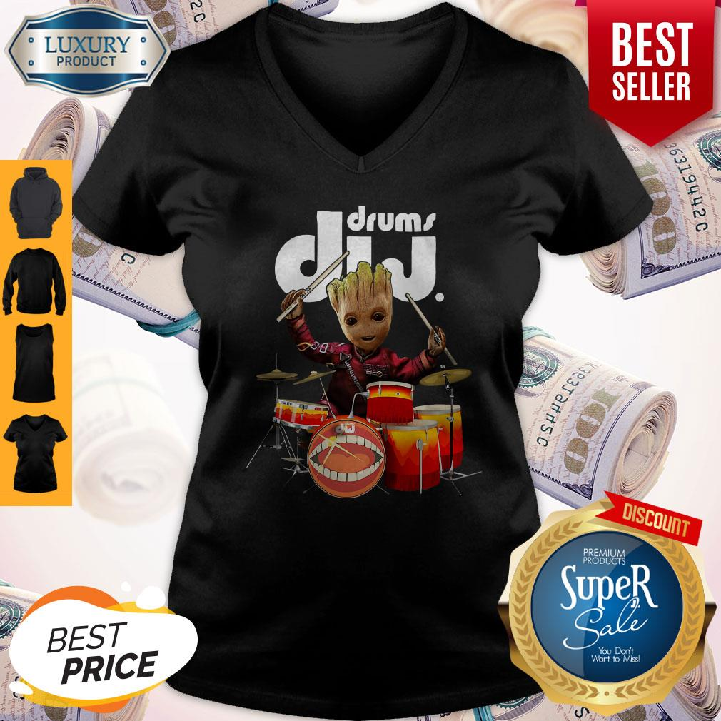Official Baby Groot Show Animal Playing Drums Dij Drums V-neck