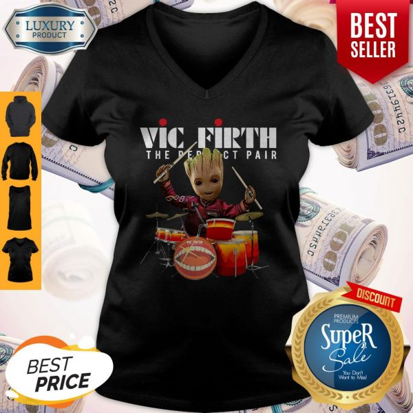 Official Baby Groot Show Animal Playing Vic Firth The Perfect Pair V-neck