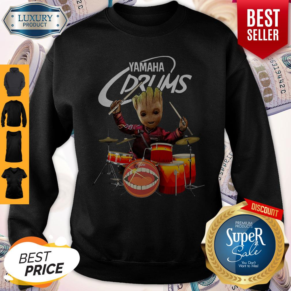 Official Baby Groot Show Animal Yamaha Drums Sweatshirt