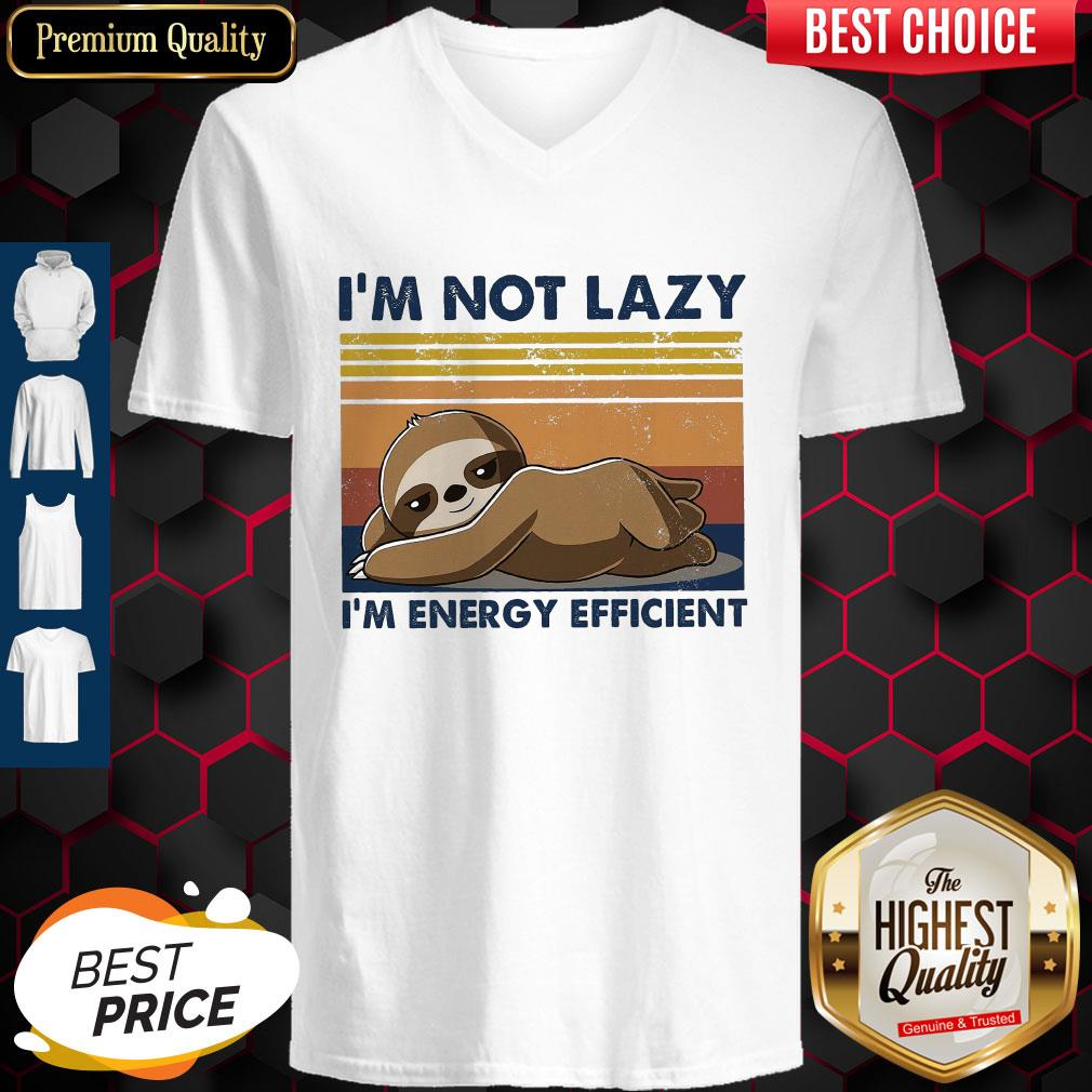Official I'm Not Lazy Im Energy Efficient Vintage V-neck