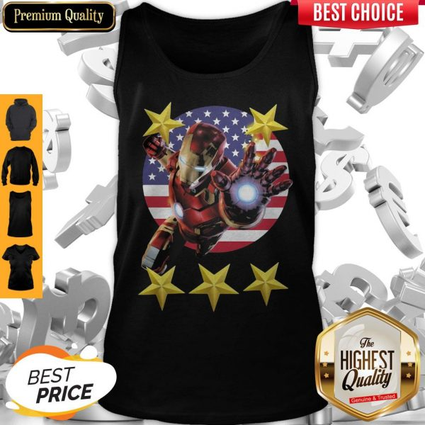 Official Iron Man American Flag Independence Day Stars Tank Top