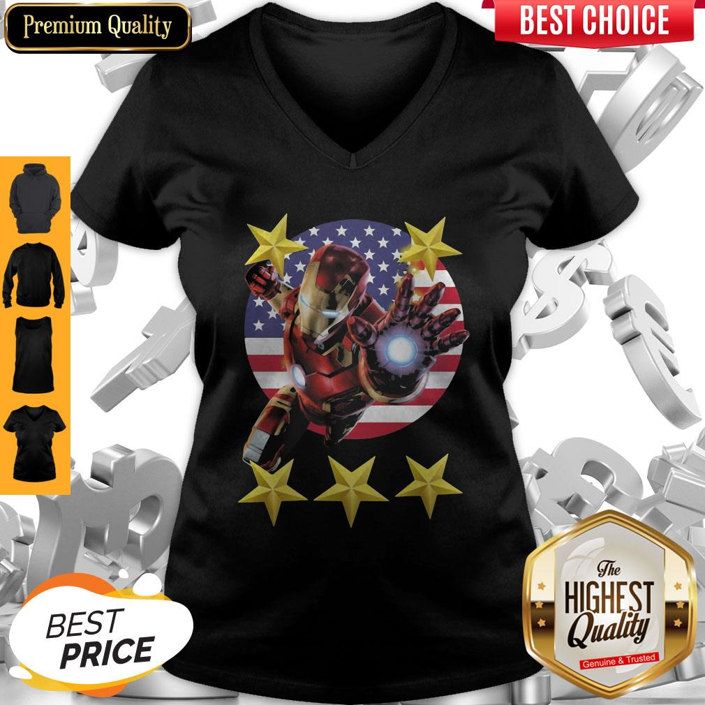 Official Iron Man American Flag Independence Day Stars V-neck