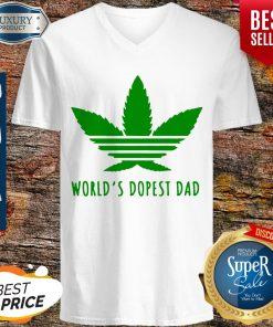 Official Weed Worlds Dopest Dad V-neck