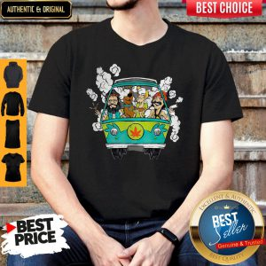 Peace Car Scooby Doo And Hippie Old Man Smoking Weed Shirt