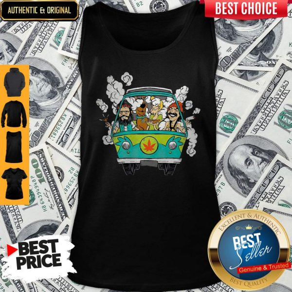 Peace Car Scooby Doo And Hippie Old Man Smoking Weed Tank Top
