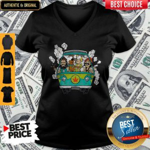 Peace Car Scooby Doo And Hippie Old Man Smoking Weed V-neck
