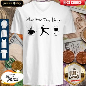 Plan Of The Day Cofffe Baseball And Wine V-neck
