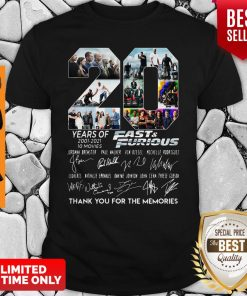 Years Of 2001 2021 Fast And Furious Thank You For The Memories Shirt
