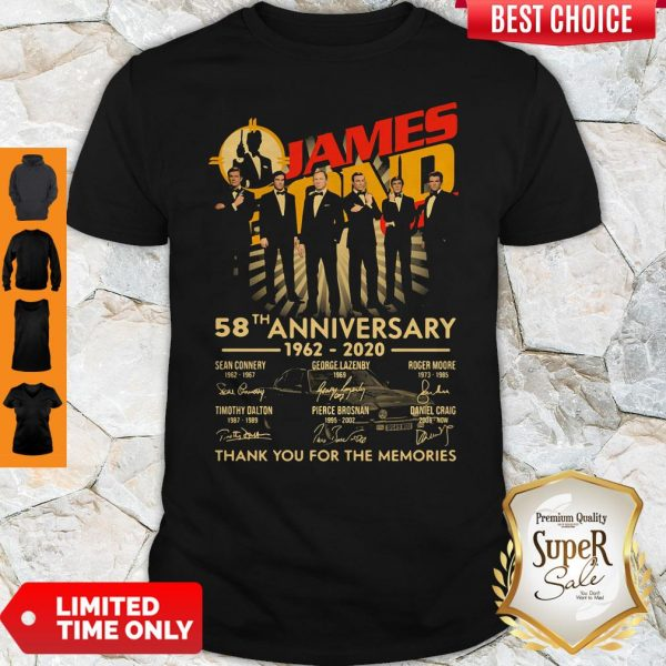 James Bond 007 58th Anniversary 1962-2020 Thank You For The Memories Signatures Shirt