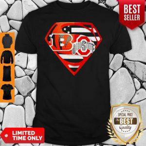 Superhero Cincinnati Bengals And Ohio State Buckeyes Diamond American Flag Independence Day Shirt