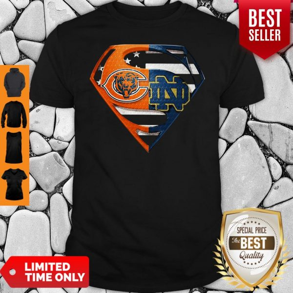Superhero Chicago Bears And Notre Dame Diamond American Flag Independence Day Shirt