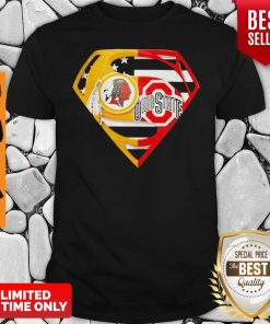 Superhero Washington Redskins And Ohio State Buckeyes Diamond American Flag Shirt