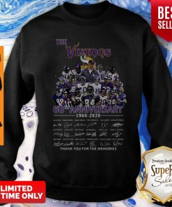 The Vikings 60th Anniversary 1960 2020 Signature Thank You For The Memories Sweatshirt