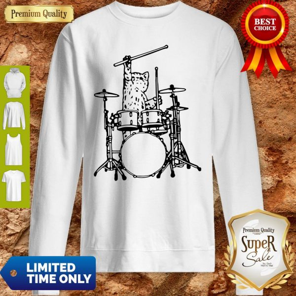 Drummer Cat Music Lover Musician Playing The Drums Sweatshirt