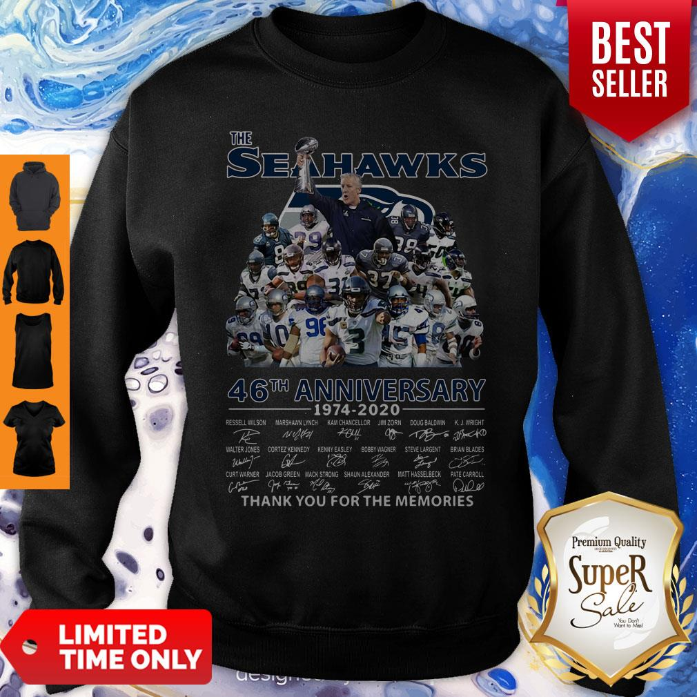 The Seattle Seahawks 46th Anniversary 1974 2020 Thank You For The Memories Signatures Sweatshirt