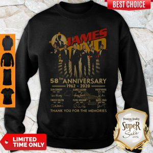James Bond 007 58th Anniversary 1962-2020 Thank You For The Memories Signatures Sweatshirt