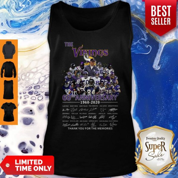 The Vikings 60th Anniversary 1960 2020 Signature Thank You For The Memories Tank Top