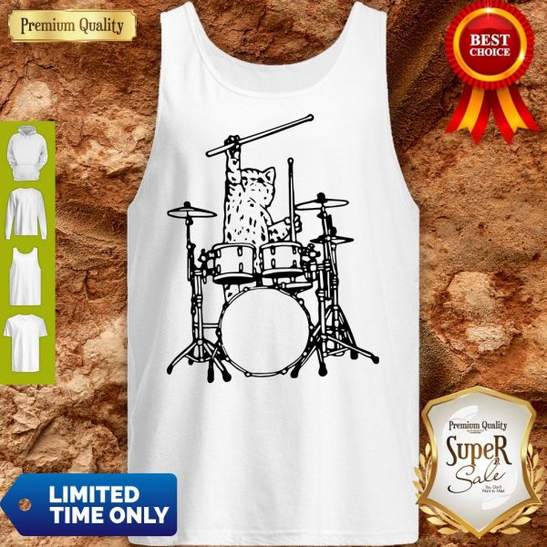 Drummer Cat Music Lover Musician Playing The Drums Tank Top