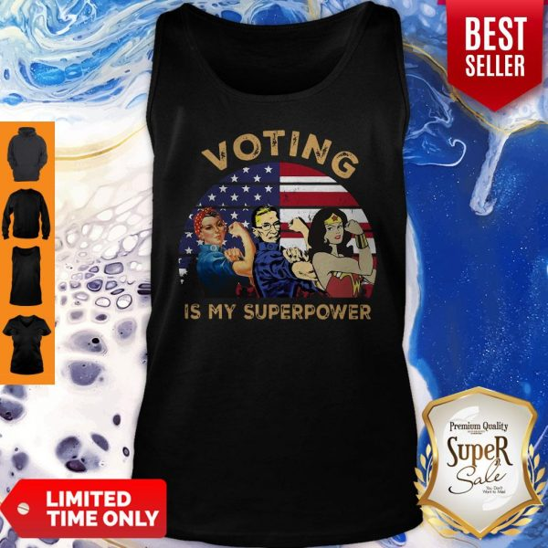 Official Voting Is My Superpower American Flag Tank Top