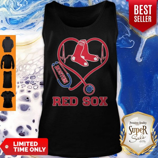 Nurse Boston Red Sox Baseball Stethoscope Heartbeat Tank Top