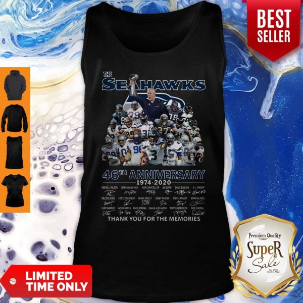 The Seattle Seahawks 46th Anniversary 1974 2020 Thank You For The Memories Signatures Tank Top