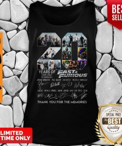 Years Of 2001 2021 Fast And Furious Thank You For The Memories Tank Top
