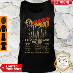 James Bond 007 58th Anniversary 1962-2020 Thank You For The Memories Signatures Tank Top
