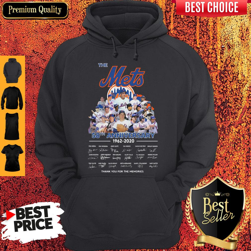 The Mets 58th Anniversary 1962-2020 Thank You For The Memories Signatures Hoodie