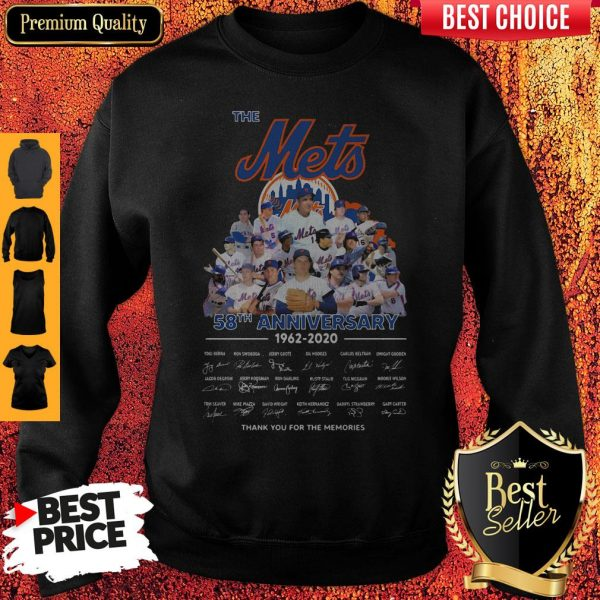 The Mets 58th Anniversary 1962-2020 Thank You For The Memories Signatures Sweatshirt