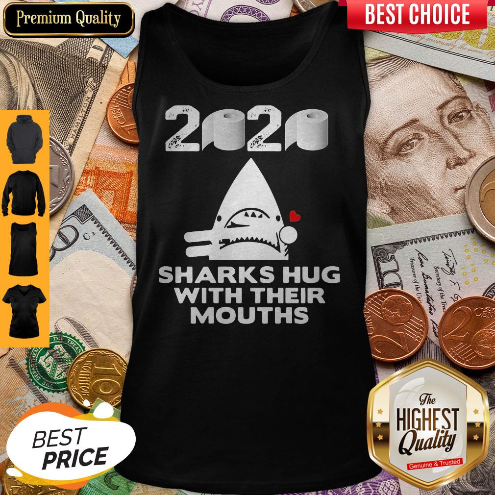 Toilet Paper Sharks Hug With Their Mouths Tank Top