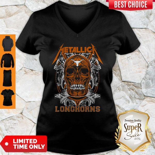 Skull Metallica Texas LonghorSkull Metallica Texas Longhorns Football Fish Shirtns Football Fish V-neck