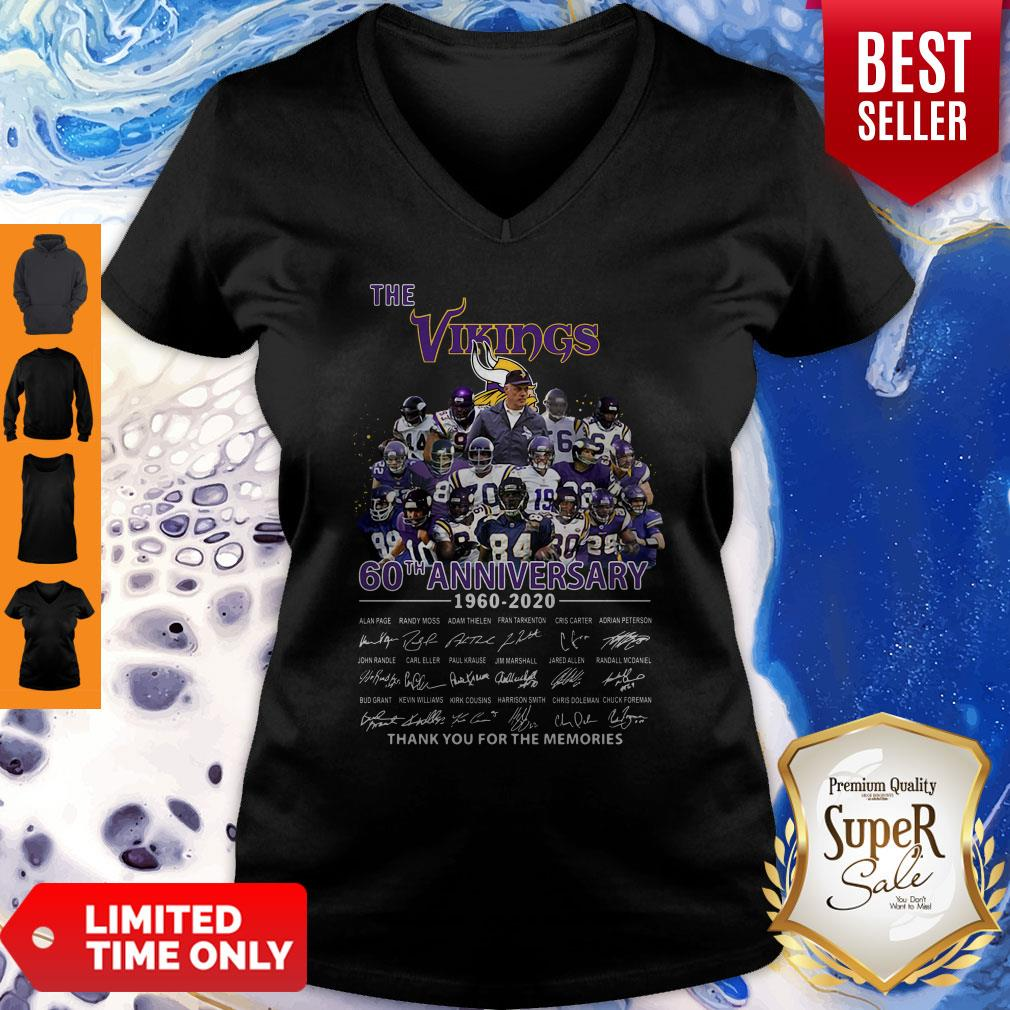 The Vikings 60th Anniversary 1960 2020 Signature Thank You For The Memories V-neck