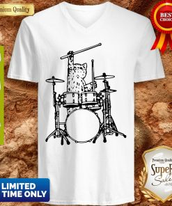 Drummer Cat Music Lover Musician Playing The Drums V-neck