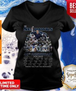 The Seattle Seahawks 46th Anniversary 1974 2020 Thank You For The Memories Signatures V-neck