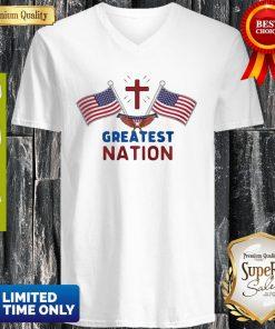 Independence Day Eagle Greatest Nation Flag America V-neck