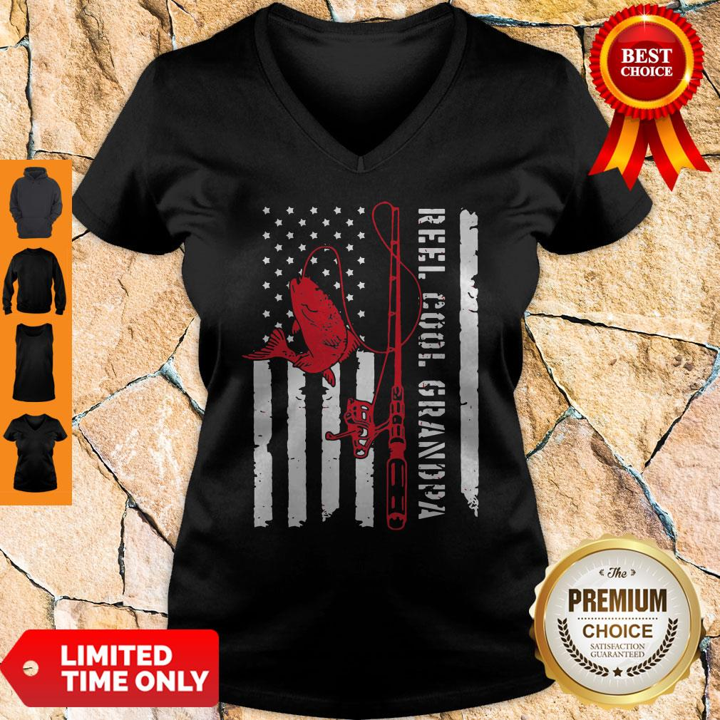 Veteran Reel Cool Dad Fishing Father's Day V-neck