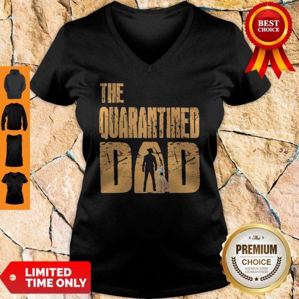 Official The Quarantined Dad Dog Mask V-neck