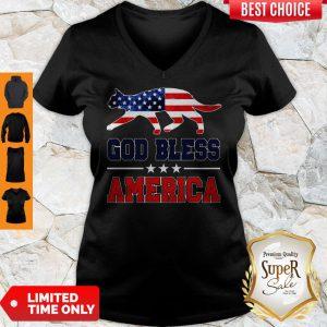 Official Cat God Bless America Flag V-neck