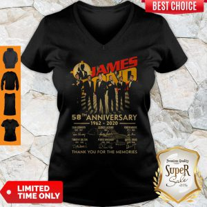 James Bond 007 58th Anniversary 1962-2020 Thank You For The Memories Signatures V-neck