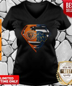 Superhero Chicago Bears And Notre Dame Diamond American Flag Independence Day V-neck
