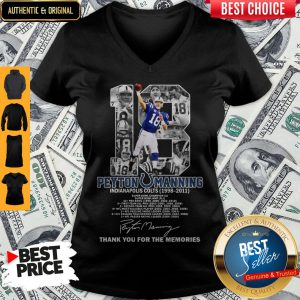 18 Peyton Manning Indianapolis Colts 1998-2011 Thank You For The Memories Signature V-neck