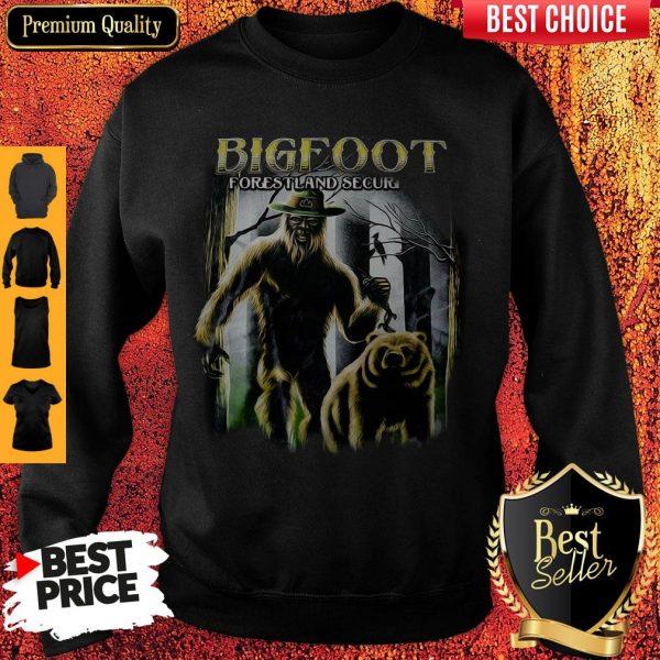 Bigfoot And Bear Version Bigfoot Forestland Security Sweatshirt