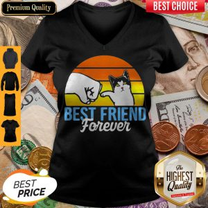 Cat Best Friend Forever Vintage Retro V-neck