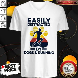 Easily Distracted By Dogs And Run Vintage V-neck