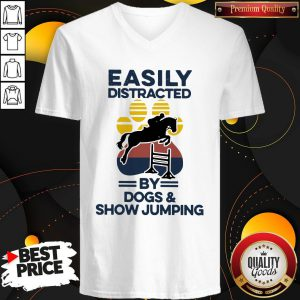 Easily Distracted By Dogs And Show Jumping Vintage V-neck