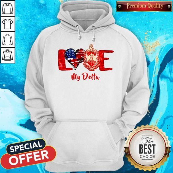 Love Heart American Flag Delta Sigma Theta Hoodie